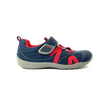 PEDIPED BOYS VEL SHOE - NAVY RED