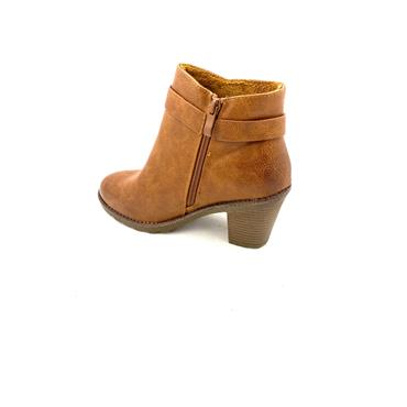 H FEET LDS STUD STRAP ZIP ANKLE BOOT - TAN