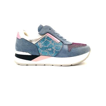 UNA HEALY WOMENS WEDGE LACE TRAINER - BLUE