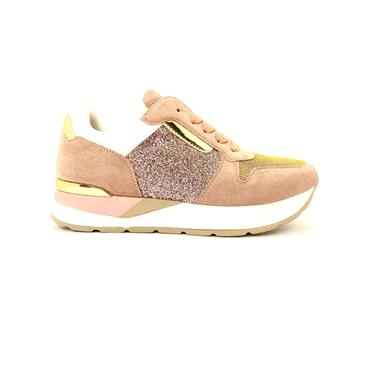 UNA HEALY WOMENS WEDGE LACE TRAINER - ROSE