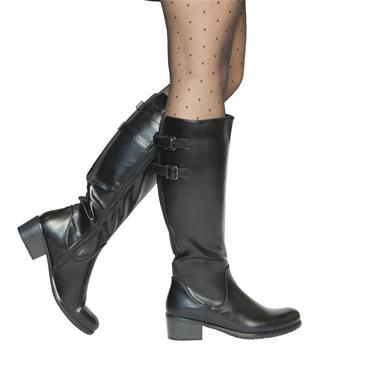SUSST WOMENS 2 STRAP ZIP HIGH LEG BOOT - BLACK