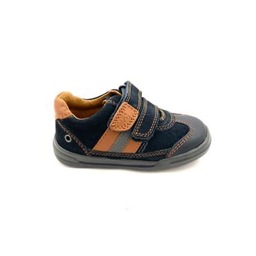 STARTRITE BOYS 2 VEL STRAP SHOE - NAVY BROWN