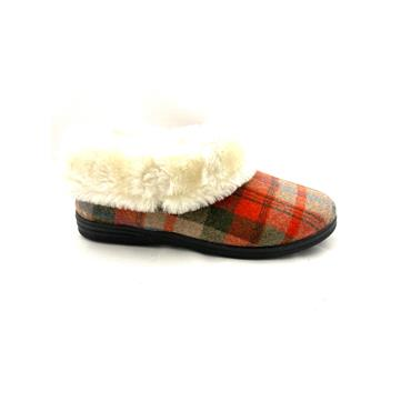 FLEXIBLE WOMENS FUR LINED BOOT SLIPPER - RED BROWN
