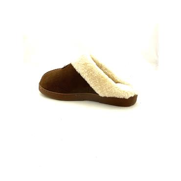 JO & JOE LDS FUR LINED BACKLESS SLIPPER - BROWN