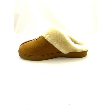 JO & JOE LDS FUR LINED BACKLESS SLIPPER - COGNAC