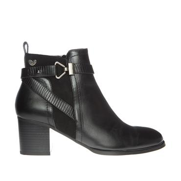 SUSST WOMENS STRAP ZIP ANKLE BOOT - BLACK