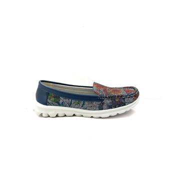 H FEET WOMENS SLIP ON MOCCASSIN SHOE - NAVY MULTI