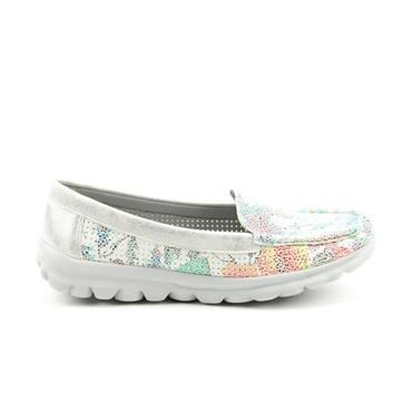 H FEET WOMENS SLIP ON MOCCASSIN SHOE - WHITE SILVER