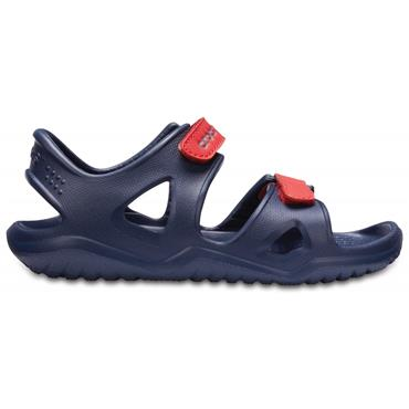 CROCS BOYS 2 STRAP VELCRO SANDAL - NAVY RED