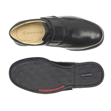 ANATOMIC MENS COMFORT VELCRO STRAP SHOE - BLACK LEATHER