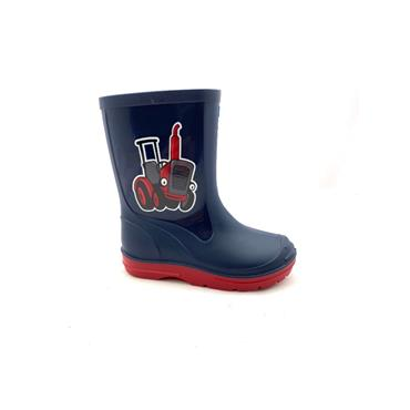 PM BOYS TRACTOR WELLY - NAVY RED