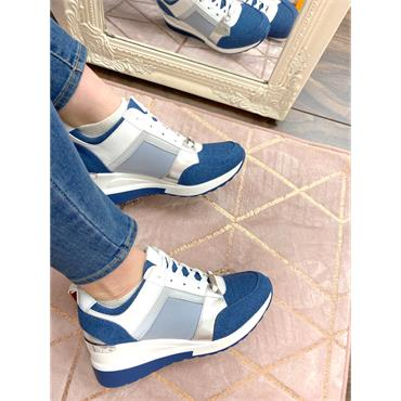 TOMMY BOWE WOMENS WEDGE LACE TRAINER - DENIM WHITE