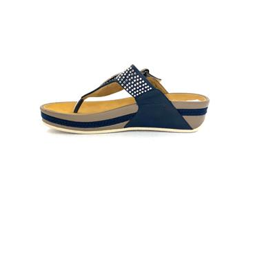 RIEKER DIAMANTE TOE POST SANDAL - BLUE