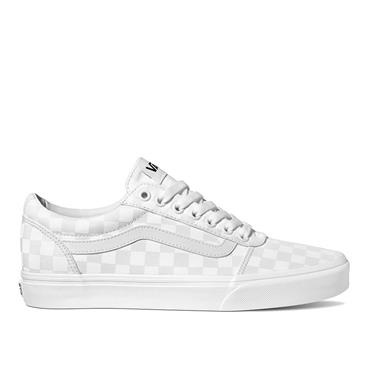 VANS WOMENS WARD LACE TRAINER - WHITE CHECKER