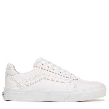 VANS WOMENS WARD DELUXE LACE TRAINER - WHITE LEATHER