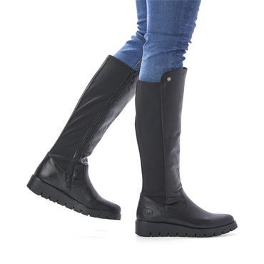 RIEKER WOMENS WEDGE ZIP HIGH LEG BOOT - BLACK