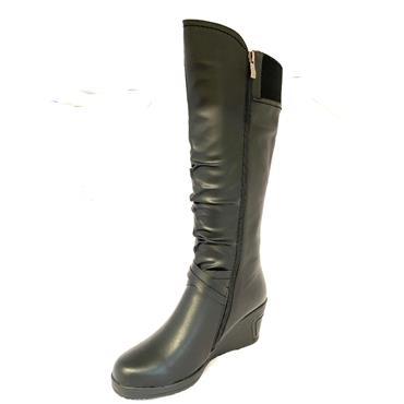 REDZ LDS WEDGE STRAP 2 ZIP HIGH LEG BOOT - BLACK