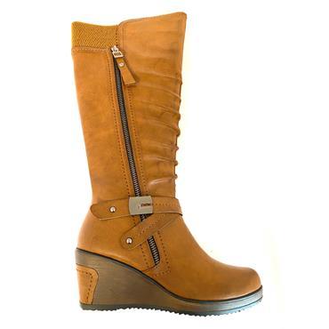 REDZ LDS WEDGE STRAP 2 ZIP HIGH LEG BOOT - CAMEL
