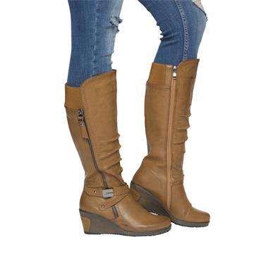 REDZ WOMENS WDG STRAP 2 ZIP HI LEG BOOT - CAMEL