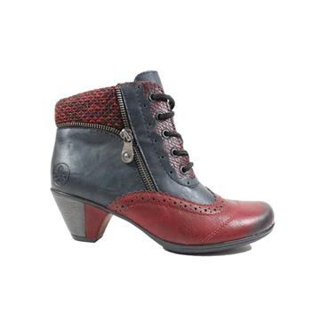 RIEKER WOMENS FUR LINED ZIP LACE BOOT - NAVY RED