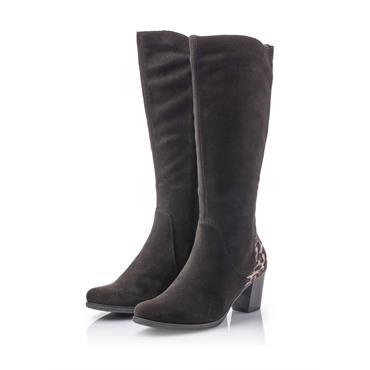 RIEKER WOMENS LEOPARD HEEL HIGH LEG BT - BLACK SUEDE