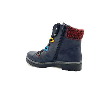 RIEKER WOMENS ZIP LACE ANKLE BOOT - NAVY