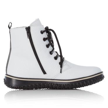 RIEKER WOMENS TEX 2 ZIP LACE ANKLE BOOT - WHITE