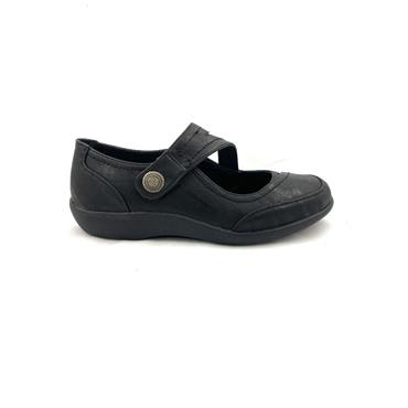 FLEXI SOFT WOMENS VELCRO STRAP SHOE - BLACK