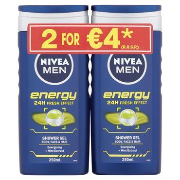 NIVEA ENERGY SHOWER GEL TWIN 250ML