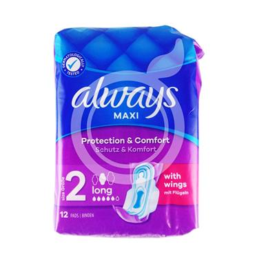 ALWAYS MAXI PADS LONG WITH WINGS 12