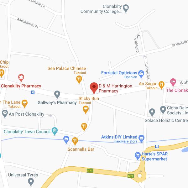 Harrington's Pharmacy Clonakilty location map