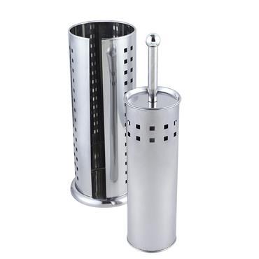 Stainless Steel Squares Toilet Brush & Toilet Roll Holder