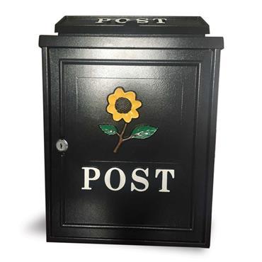 Postplus Yellow Sunflower Diecast Post Box Black