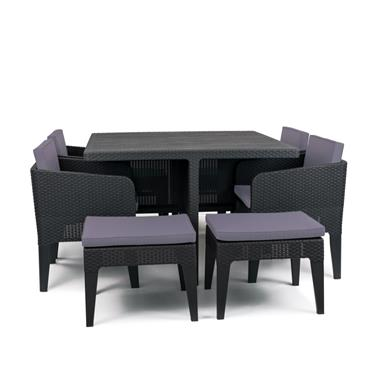 Columbia 8 Seater Dining Set - Graphite
