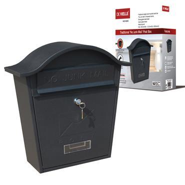 "Traditional Post Box Black ""No Junk Mail"""