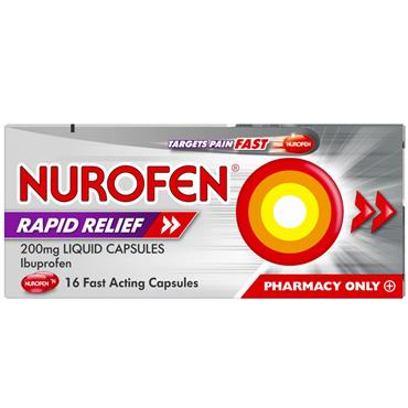 NUROFEN RAPID LIQUID CAPSULES 200MG 16S