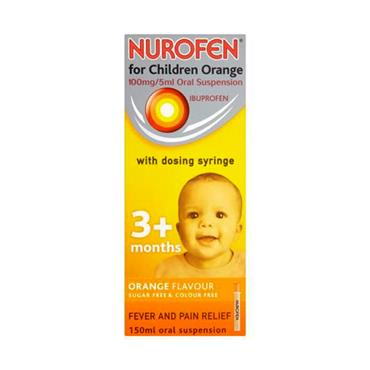 NUROFEN 3+ MONTHS SUGAR FREE ORANGE SYRINGE 150ML