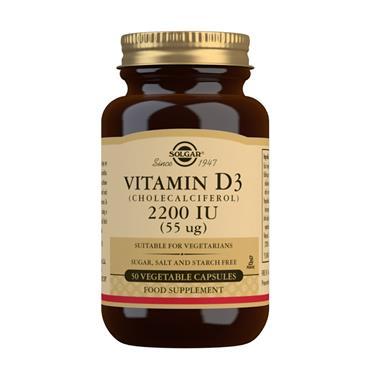 SOLGAR VITAMIN D3 (CHOLECALCIFEROL) 2200 IU 50 VEGETABLE CAPSULES