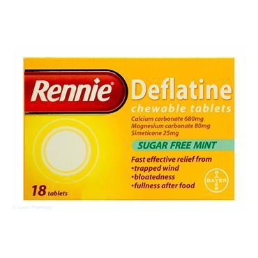 RENNIE DEFLATINE CHEWABLE 18 TABLETS
