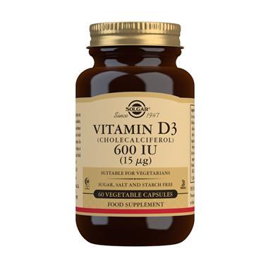SOLGAR VITAMIN D3 (CHOLECALCOFEROL) 600 15 UG 60 CAPSULES