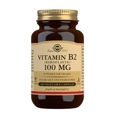 SOLGAR VITAMIN B2 100MG 100 VEGETABLE CAPSULES