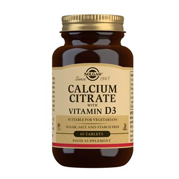 SOLGAR CALCIUM CITRATE + VITAMIN D3 60 TABLETS