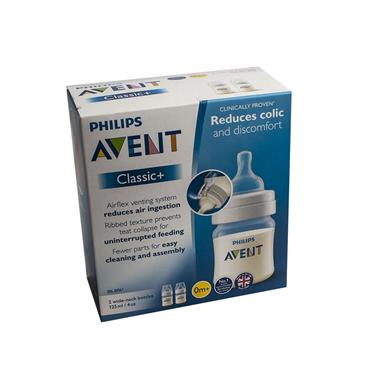 AVENT CLASSIC BOTTLE REDUCES COLIC 125ML X 2