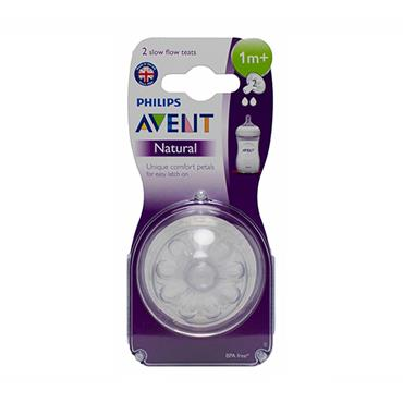 AVENT NATURAL SLOW FLOW TEAT 1M+ X 2