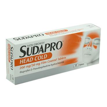 SUDAPRO HEAD COLD TABLETS 12S