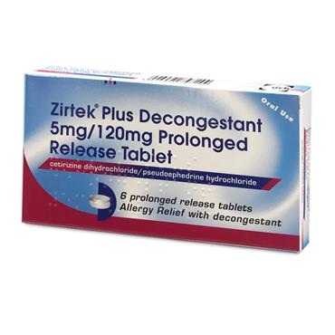 ZIRTEK PLUS ALLERGY RELIEF PLUS DECONGESTANT 6S