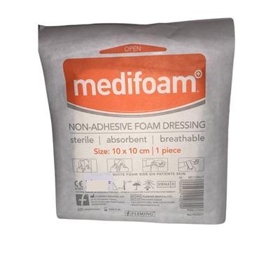 MEDIFOAM NON ADHESIVE FOAM DRESSING 10x10CM BOX OF 5