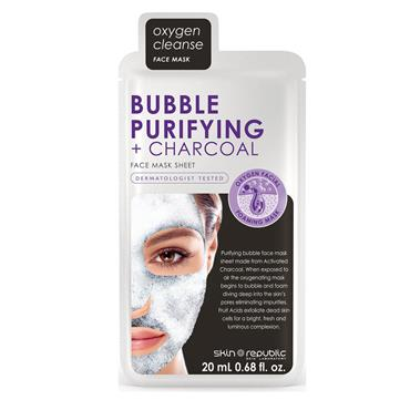 SKIN REPUBLIC BUBBLE,PURIFYING&CHRCOAL FACE MASK SHEET