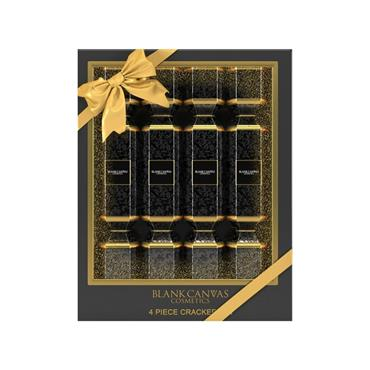 BLANK CANVAS 4 PIECE BLACK & GOLD LUXURY GIFTING CRACKERS