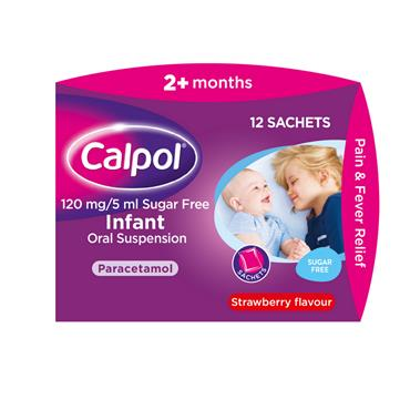 CALPOL 2+ MONTHS SUGARFREE STRAWBERRY  FLAVOUR 12 SACHETS